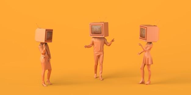 Люди разговаривают со старым телевизором вместо головы. 3d-иллюстрация копирование пространства сми