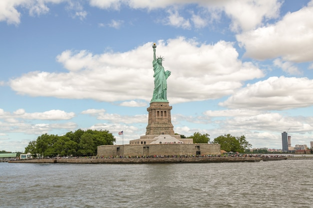People visit the statue of liberty is famous in new york ,usa.