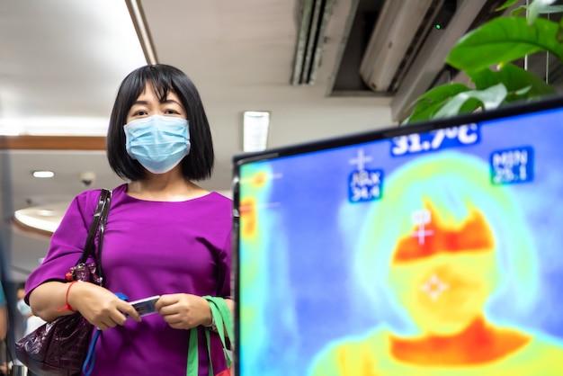 サーモスキャンによる温度チェックを待っている人々