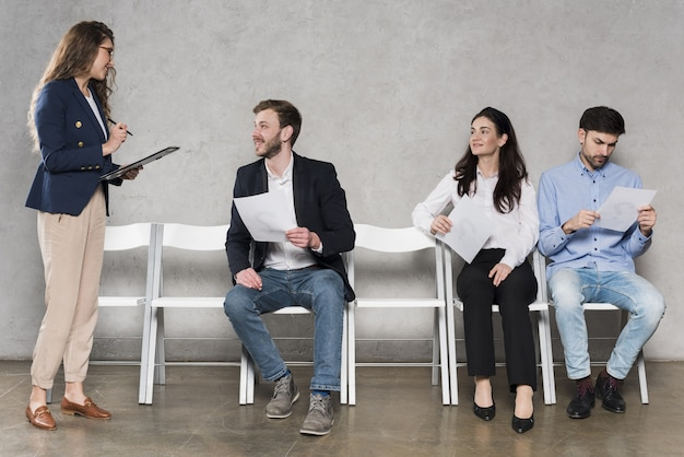 People waiting for their job interviews