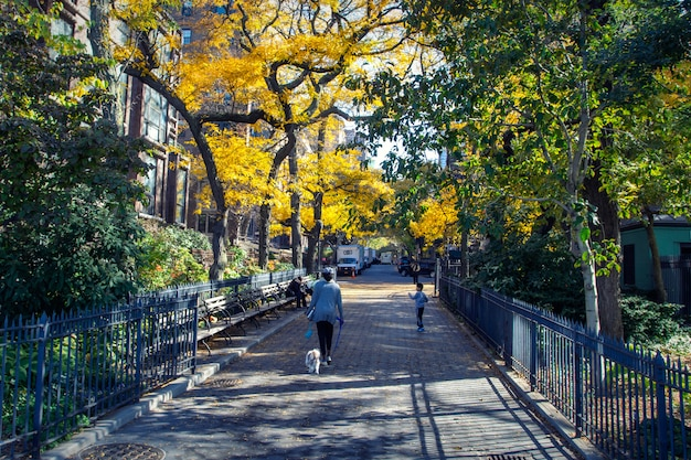People walking in the streets of brooklyn heights district in fall season