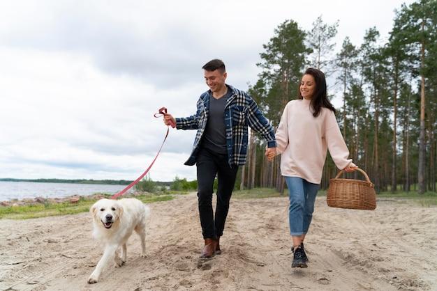 해변 전체 샷에 강아지와 함께 산책하는 사람들