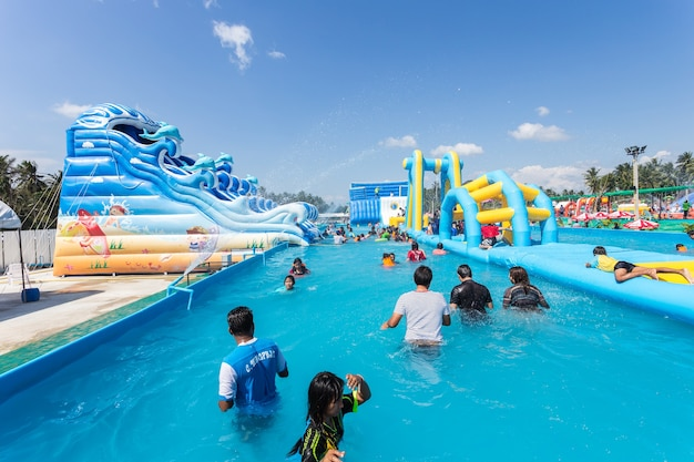 People in the  water park
