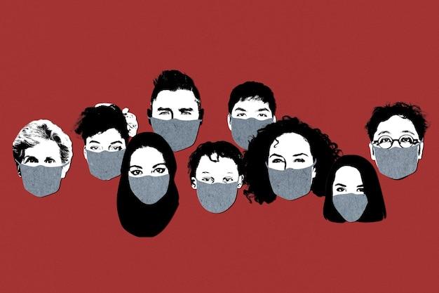 공개 사회 템플릿에서 얼굴 마스크를 착용하는 사람들