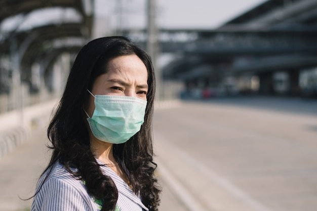 People wearing mask to protect against viruses and dust in the city.