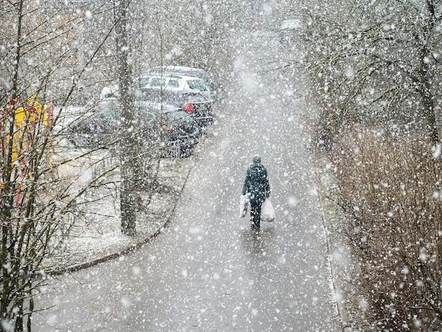 大雪の下でバッグを手に持った人が歩いている