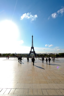 People with  eiffel tower view from trocadero square paris, france