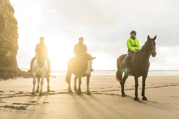 People with horses on the beach on a cloudy day