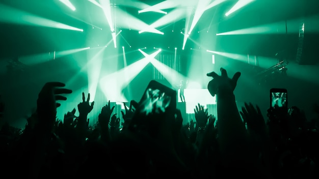 People with raised hands silhouettes at a music concert or festival