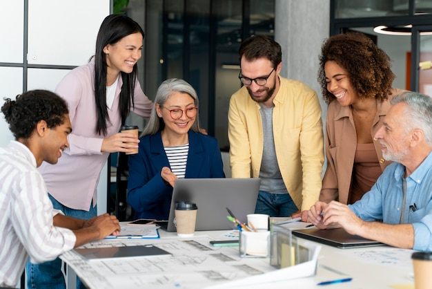People working as a team company