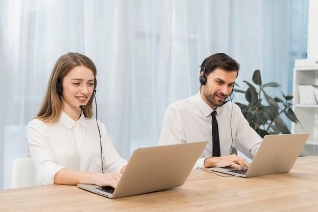 People working in call center