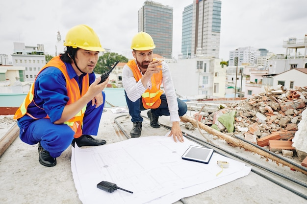 People working at construction site