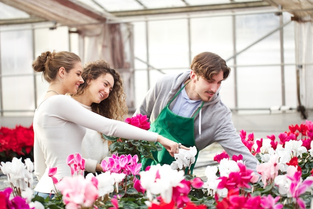 People working in a garden store