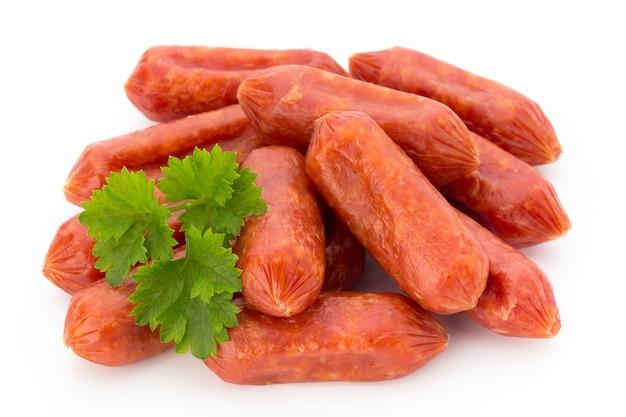 Peperoni or salami, parsley sausage. isolated on white background.