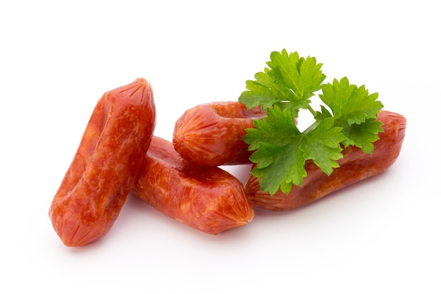 Peperoni or salami, parsley sausage. isolated on white space.