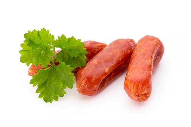 Peperoni or salami, parsley sausage. isolated on white surface.