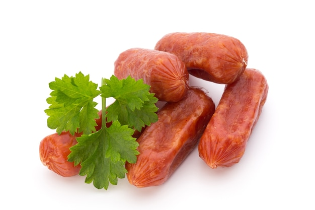 Peperoni or salami, parsley sausage. isolated.