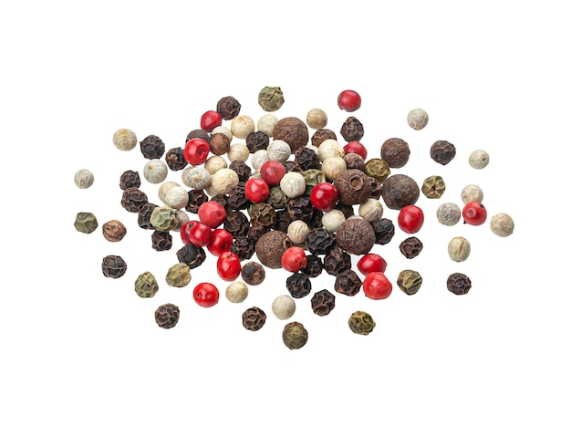 Pepper mix, peppercorns isolated on white background, top view