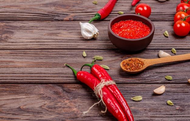 Pepper paprika and tomato mousse, closeup.