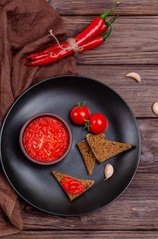 Pepper paprika and tomato mousse, top view