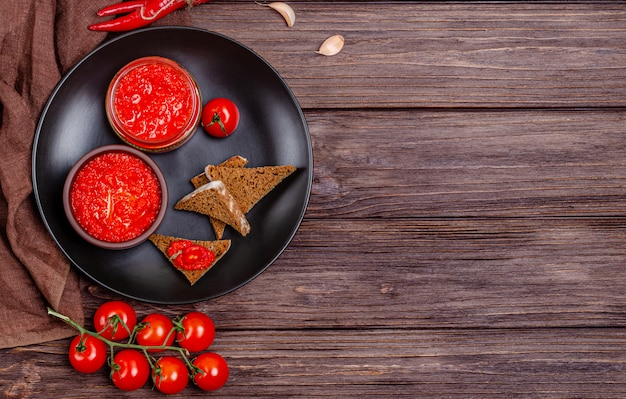 Pepper paprika and tomato mousse