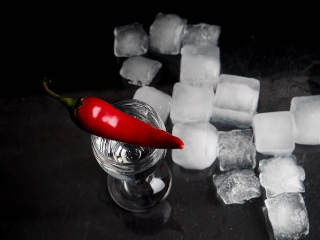 Pepper shot glass ice