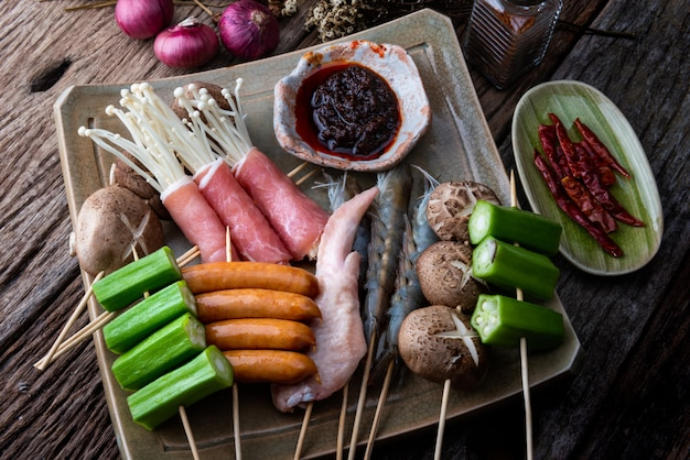 四川胡pepperの串焼き