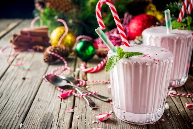 Peppermint candy cane ice milkshake
