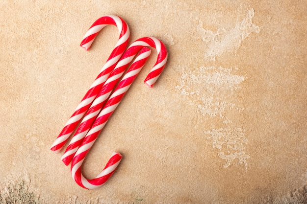 ペパーミントキャンディケイン。クリスマス。コピースペース