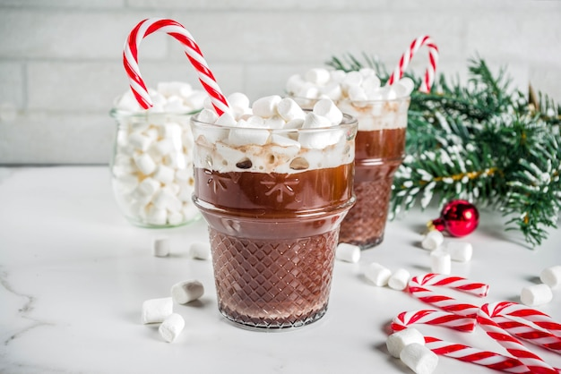 Peppermint hot chocolate with marshmallow