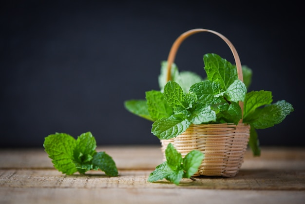 Peppermint leaf in a basket