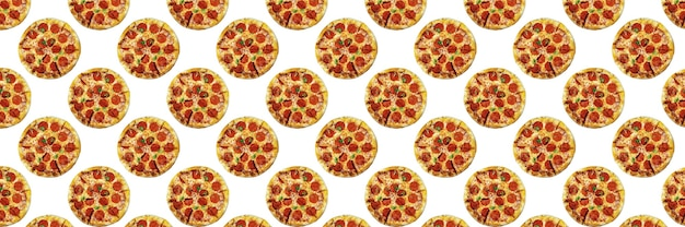 Pepperoni pizza isolated on white background, for the design of fast food or pizzerias, seamless pattern