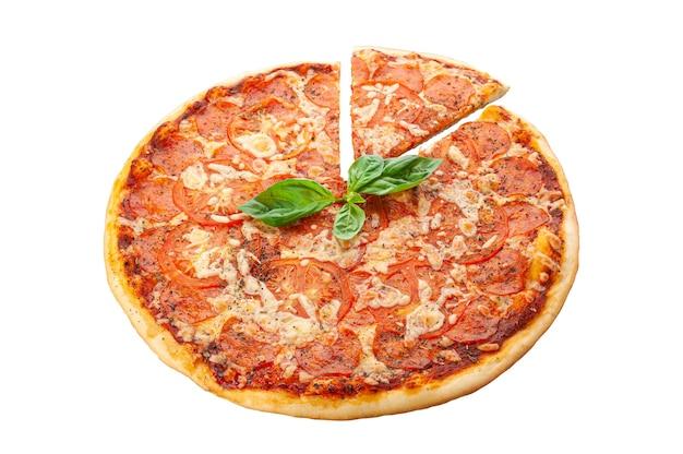 Pepperoni pizza. pepperoni sausages, mozzarella cheese, tomato sauce, tomatoes, oregano white background. isolated. close-up.