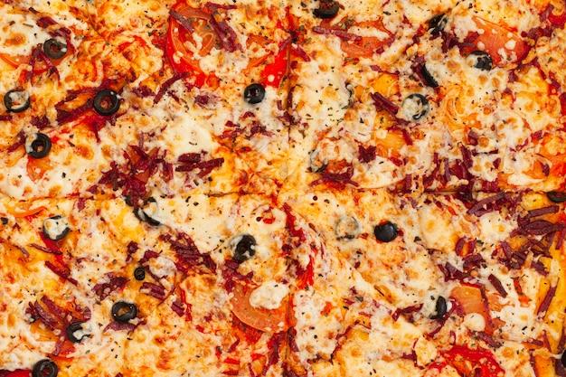 ペパロニピザ平面図テクスチャ。横に