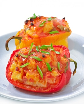 Peppers stuffed with potatoes and chorizo