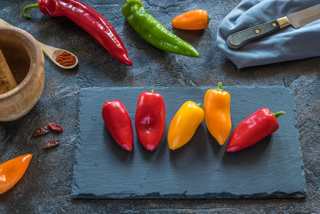 Peppers on the table