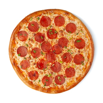 Peproni pizza with mozzarella cheese, pepperoni sausages and green onions. view from above. white background. isolated.