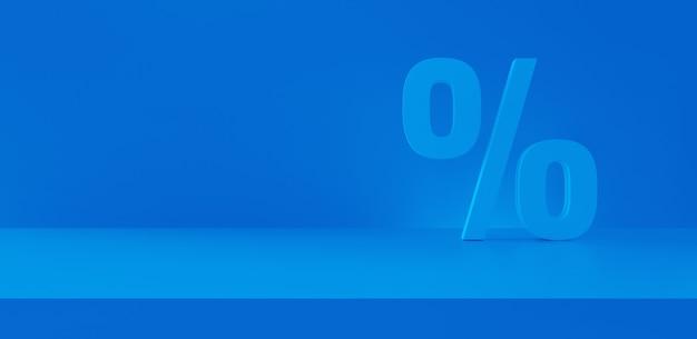 파노라마 파란색 배경에서 백분율 할인입니다. 판매 및 쇼핑 개념입니다. 3d 렌더링.