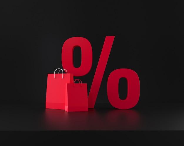 黒の背景にパーセント割引のシンボルとショッピングバッグ。 3dレンダリング。