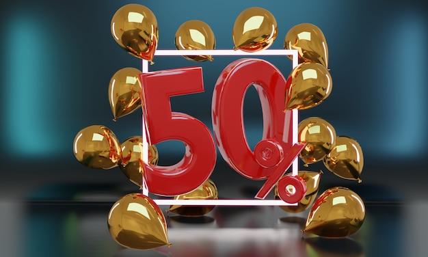Percent sale black friday idea in 3d rendering