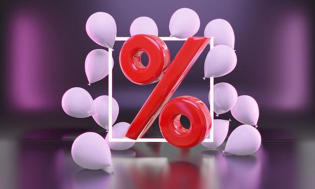 Процент распродажи идеи черной пятницы в 3d-рендеринге