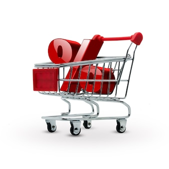 Percentage discount in shopping cart  sales concept