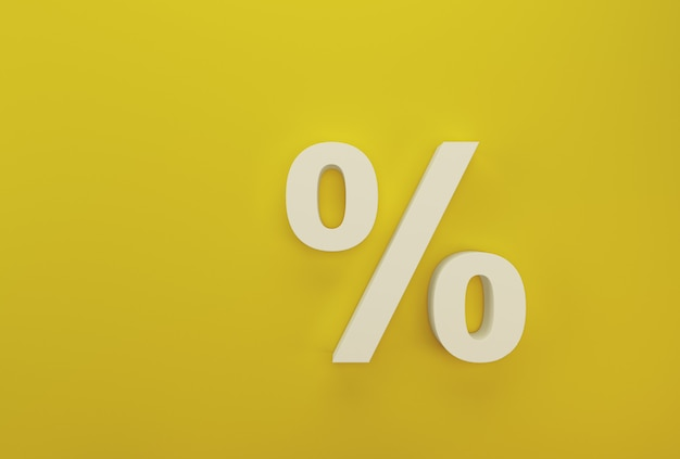 Percentage sign symbol icon white on yellow