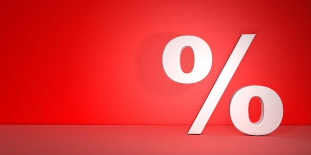 Percentage sign with volume on red background