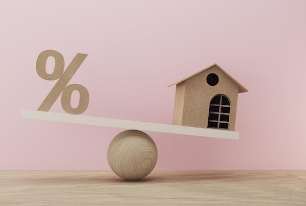 백분율 기호 아이콘 및 하우스는 다른 규모로 균형 규모. 재무 관리