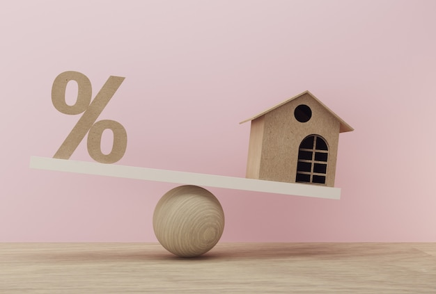 Percentage symbol icon and house a balance scale in unalike. financial management