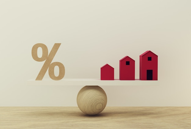 Percentage symbol icon and house scale in equal position. financial management  : depicts short term borrowing for a residence.