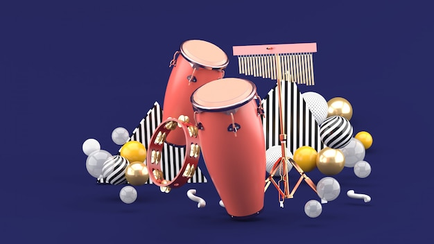 Percussion on colorful balls on purple. 3d rendering.