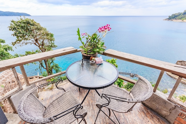 Perfect balcony with chairs and table in beautiful sea view on phuket island,thailand