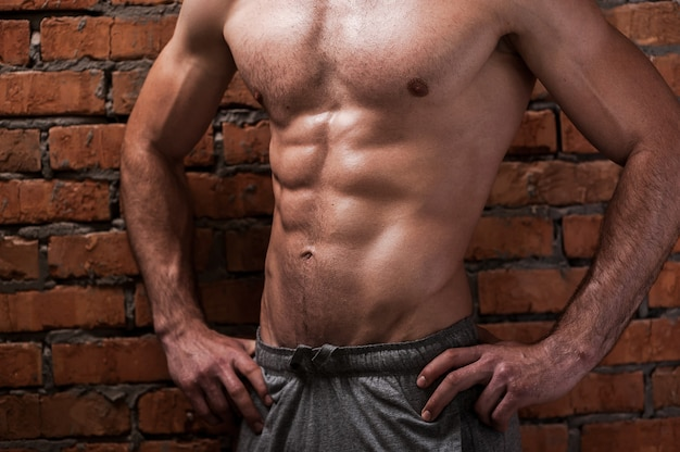 Perfect body. cropped image of young muscular man holding hands on hips